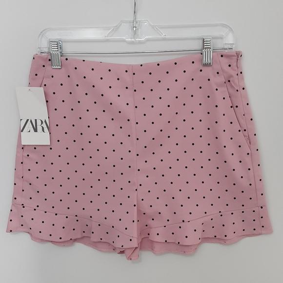 Zara pink polka dot high waist shorts stretch LG